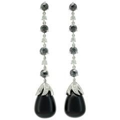 Black Diamonds White Diamonds Onyx 18 KT White Gold Long Made in Italy Earrings