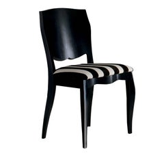 Black Dining Chair with Black & White Cushion
