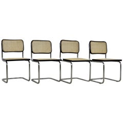Black Dinning Style Chairs B32 by Marcel Breuer 1980s Set of 4
