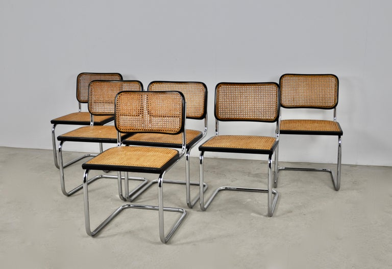 Black Dinning Style Chairs B32 by Marcel Breuer Set 6 For Sale 3