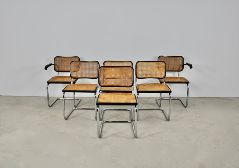 Black Dinning Style Chairs B32 by Marcel Breuer Set 6 3
