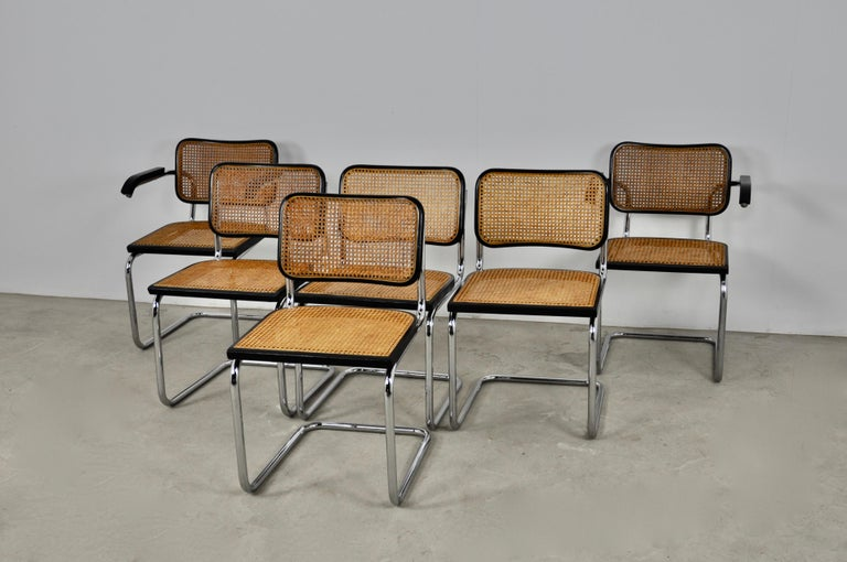 Black Dinning Style Chairs B32 by Marcel Breuer Set 6 4