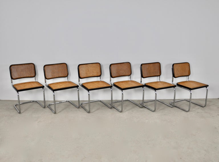 Mid-Century Modern Black Dinning Style Chairs B32 by Marcel Breuer Set 6 For Sale