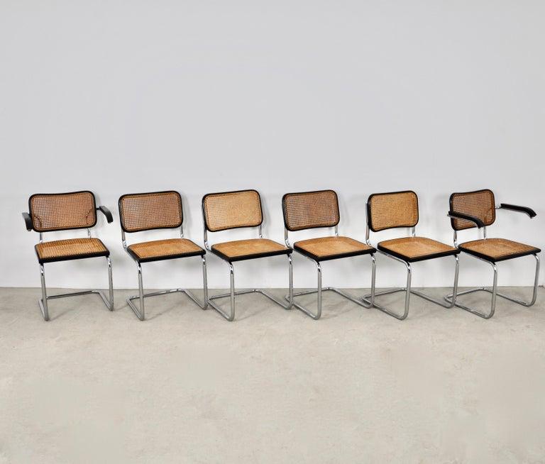 Mid-Century Modern Black Dinning Style Chairs B32 by Marcel Breuer Set 6
