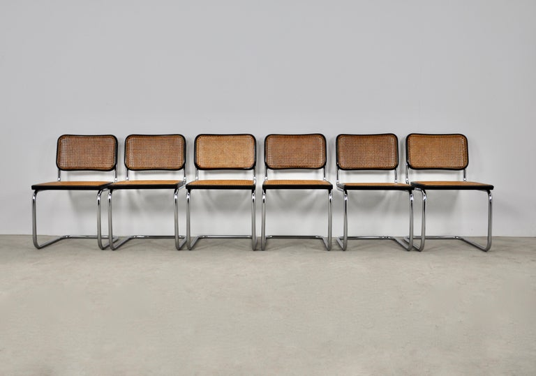 Italian Black Dinning Style Chairs B32 by Marcel Breuer Set 6 For Sale