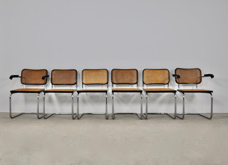 Italian Black Dinning Style Chairs B32 by Marcel Breuer Set 6