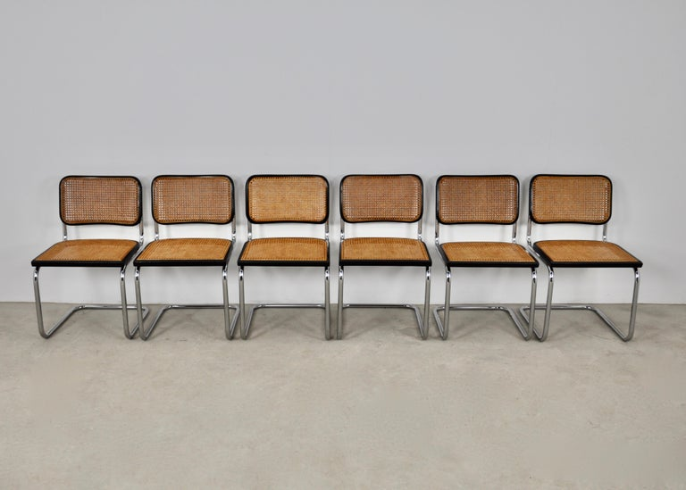 Black Dinning Style Chairs B32 by Marcel Breuer Set 6 In Good Condition For Sale In Lasne, BE