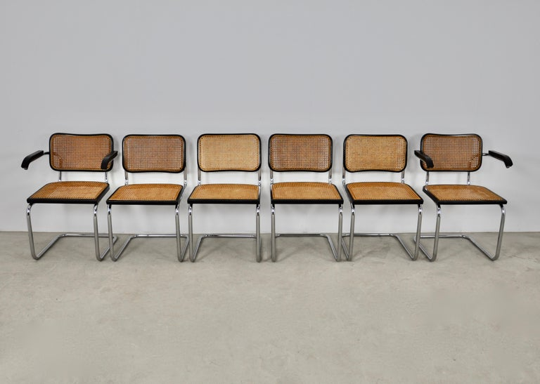 Black Dinning Style Chairs B32 by Marcel Breuer Set 6 In Good Condition In Lasne, BE