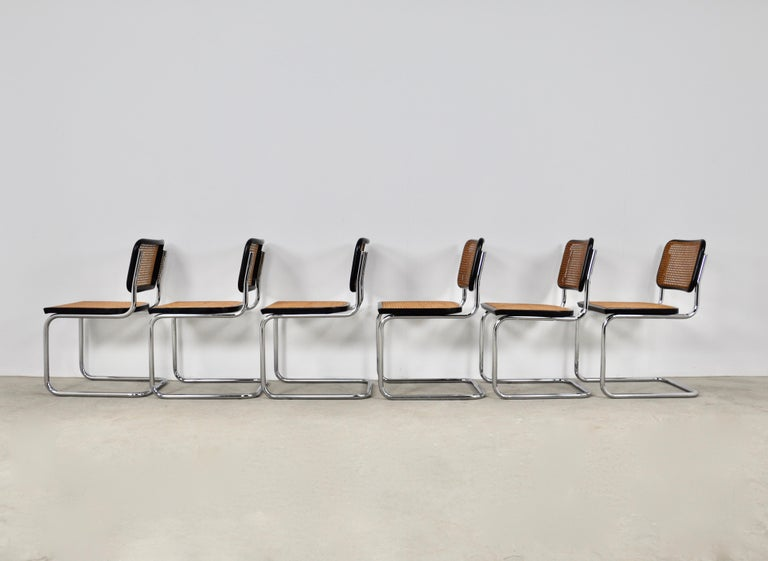 Late 20th Century Black Dinning Style Chairs B32 by Marcel Breuer Set 6 For Sale