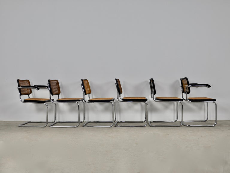 Late 20th Century Black Dinning Style Chairs B32 by Marcel Breuer Set 6