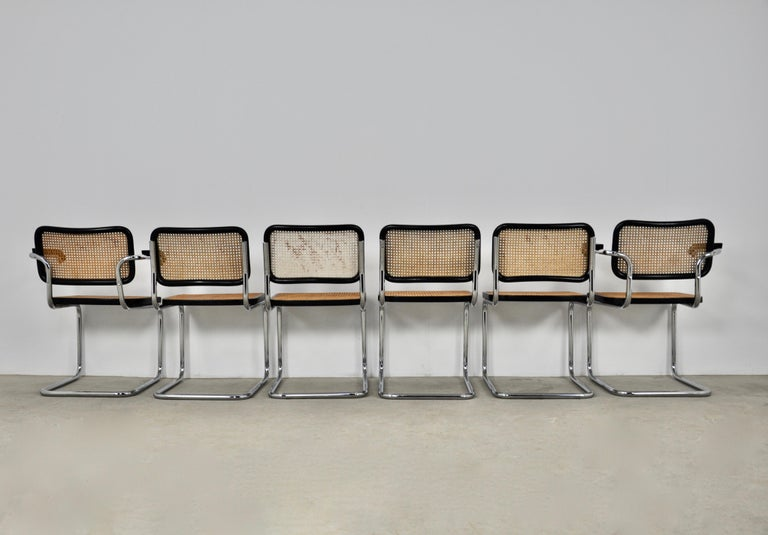 Metal Black Dinning Style Chairs B32 by Marcel Breuer Set 6