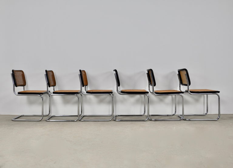 Black Dinning Style Chairs B32 by Marcel Breuer Set 6 For Sale 1