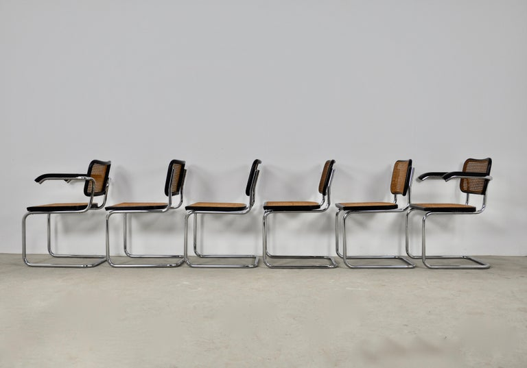 Black Dinning Style Chairs B32 by Marcel Breuer Set 6 1