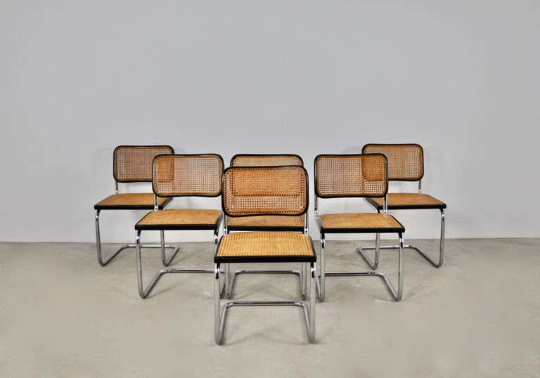 Black Dinning Style Chairs B32 by Marcel Breuer Set 6 For Sale 2