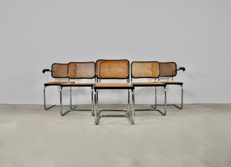 Black Dinning Style Chairs B32 by Marcel Breuer Set 6 2