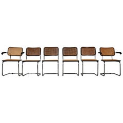 Black Dinning Style Chairs B32 by Marcel Breuer, Set of 6
