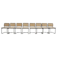 Black Dinning Style Chairs B32 by Marcel Breuer, Set of 8