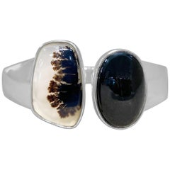 Stephen Dweck Black Diopside & Plume Agate Bangle