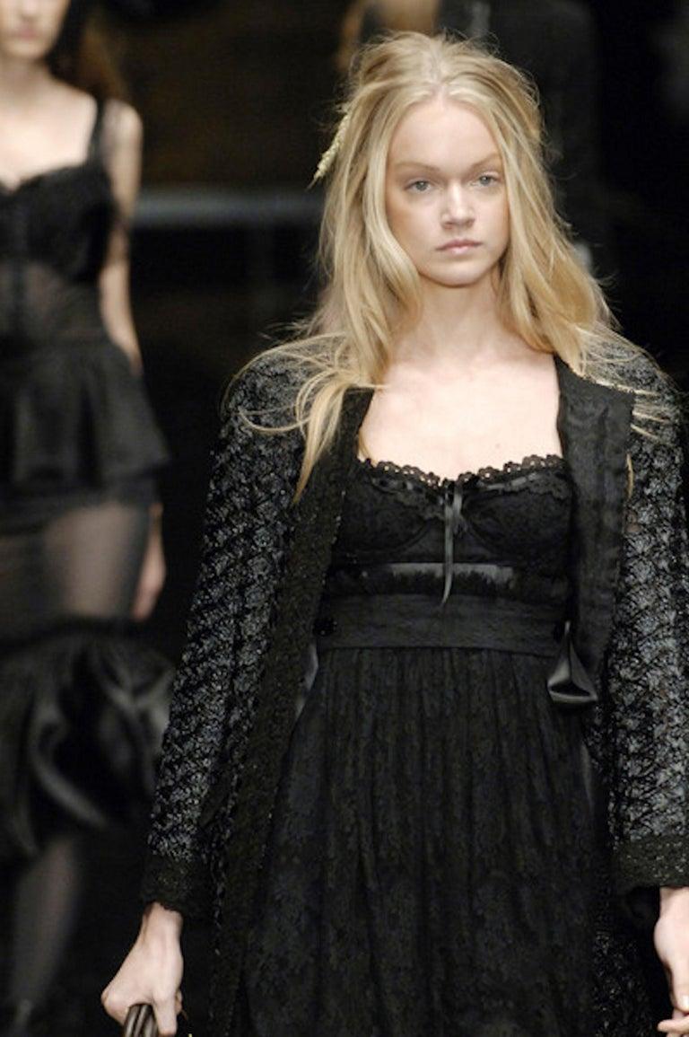 Black Dolce & Gabbana Corset Lace Evening Cocktail Dress For Sale 6