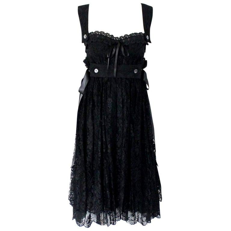 Black Dolce & Gabbana Corset Lace Evening Cocktail Dress For Sale