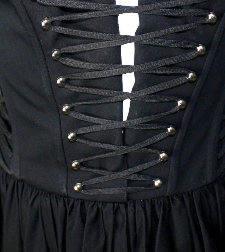 Black Dolce & Gabbana Hourglass Boned Corset Lace Up Dress  For Sale 1