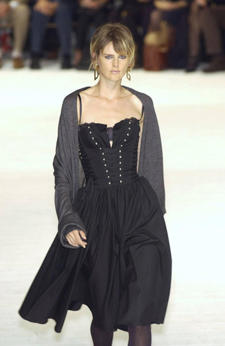 Black Dolce & Gabbana Hourglass Boned Corset Lace Up Dress  For Sale 4