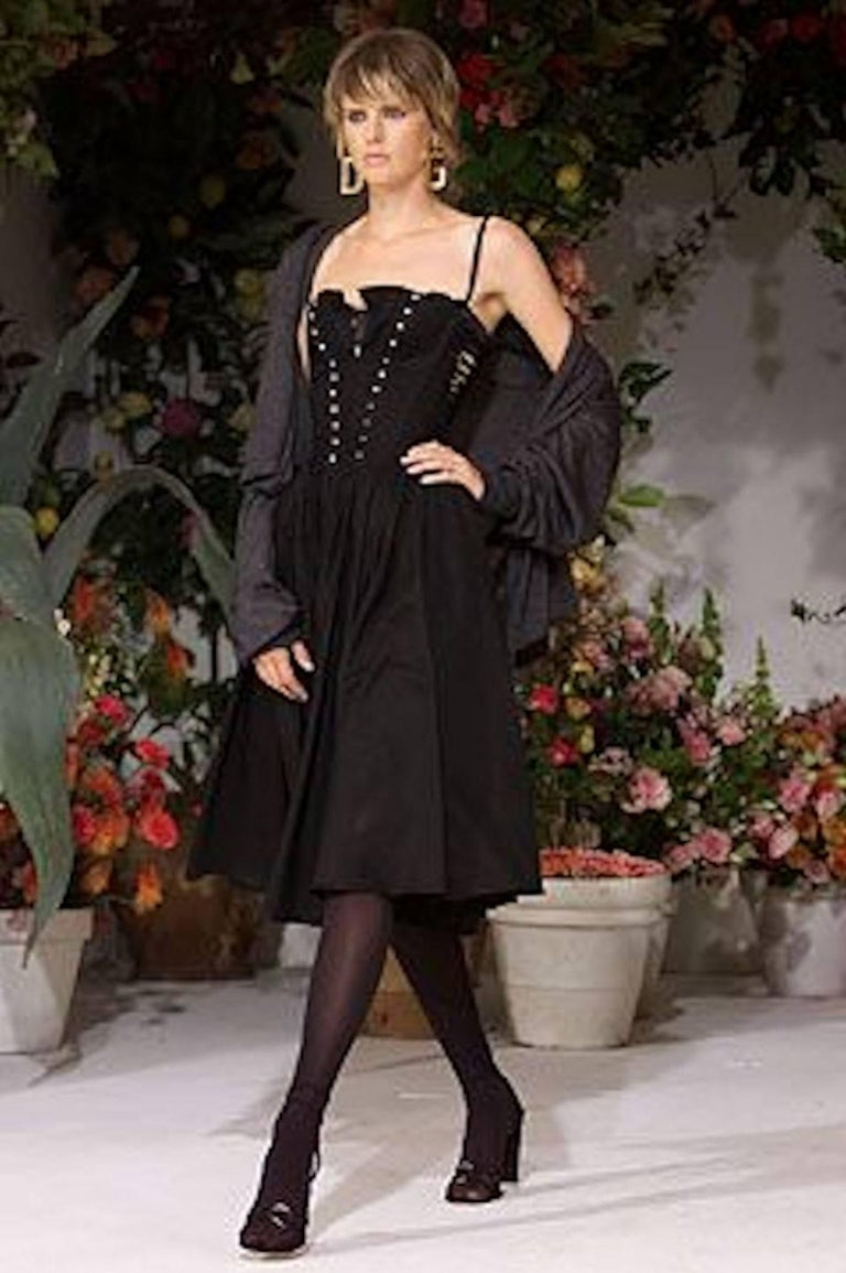 Black Dolce & Gabbana Hourglass Boned Corset Lace Up Dress  For Sale 5
