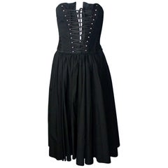 Black Dolce & Gabbana Hourglass Boned Corset Lace Up Dress