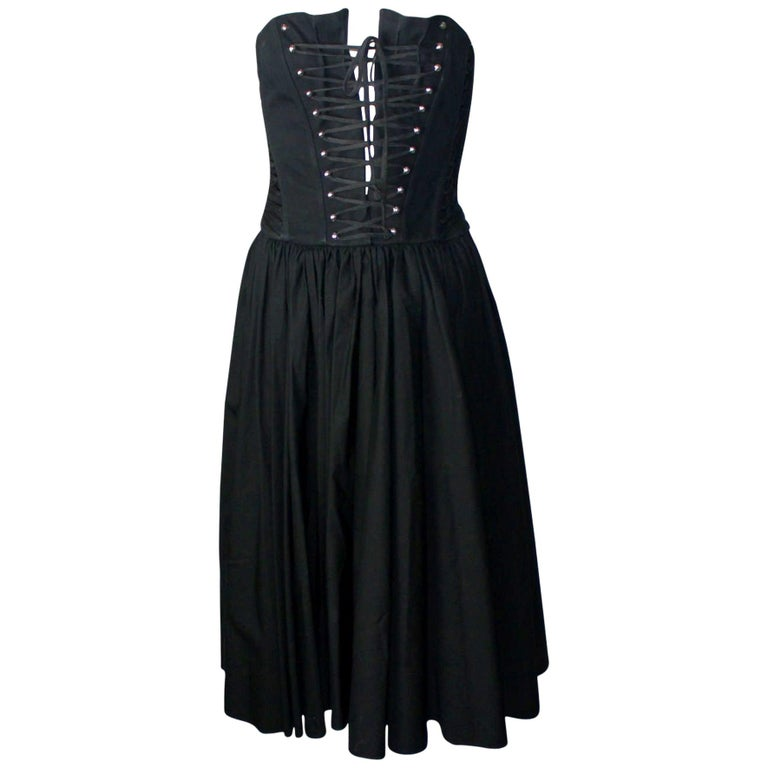 Black Dolce & Gabbana Hourglass Boned Corset Lace Up Dress  For Sale