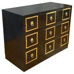 Black Dorothy Draper Style Espana Dresser with Brass Handle Frames