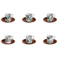 Black Dragon, Coffee Set with Six Contemporary Porcelains with Decorative Design