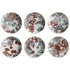 Black Dragon, Six Contemporary Porcelain soup plates with Decorative Design