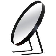 Black Durlston Circular Vanity Mirror, circa 1968