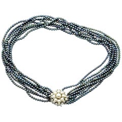 Black Dyed Pearl Strand Necklace with 14 Karat White Gold Pearl Accented Clasp