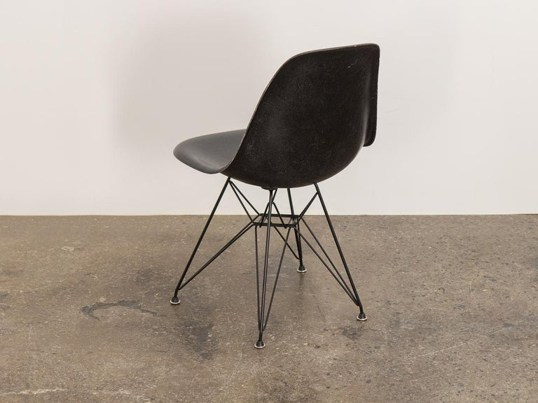 Mid-Century Modern Black Eames for Herman Miller Shell Chair on Eiffel Base For Sale