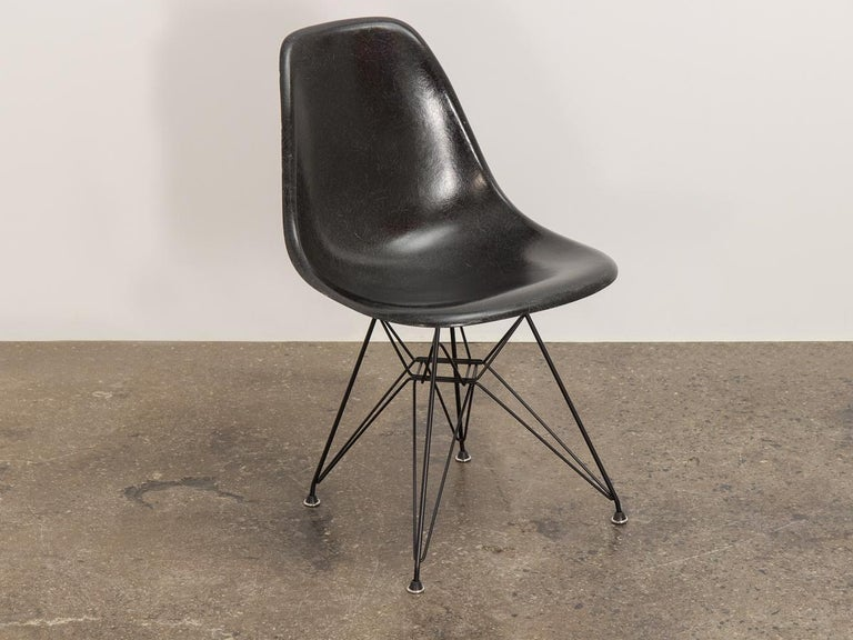 American Black Eames for Herman Miller Shell Chair on Eiffel Base For Sale