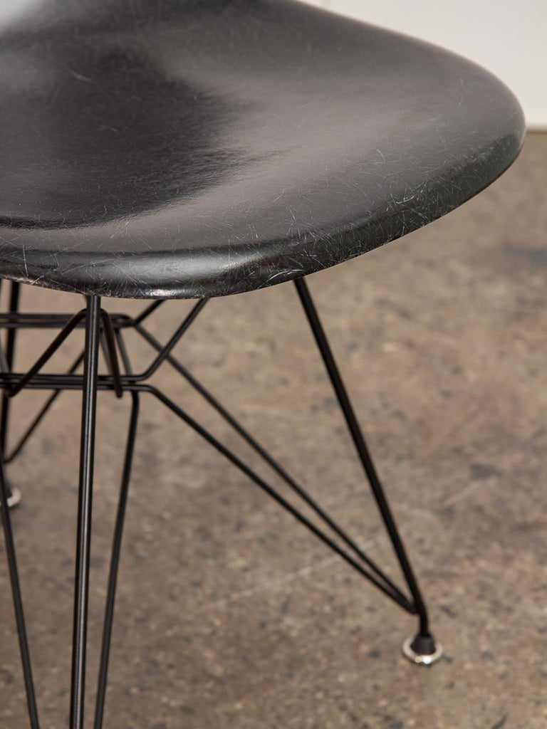 Fiberglass Black Eames for Herman Miller Shell Chair on Eiffel Base For Sale