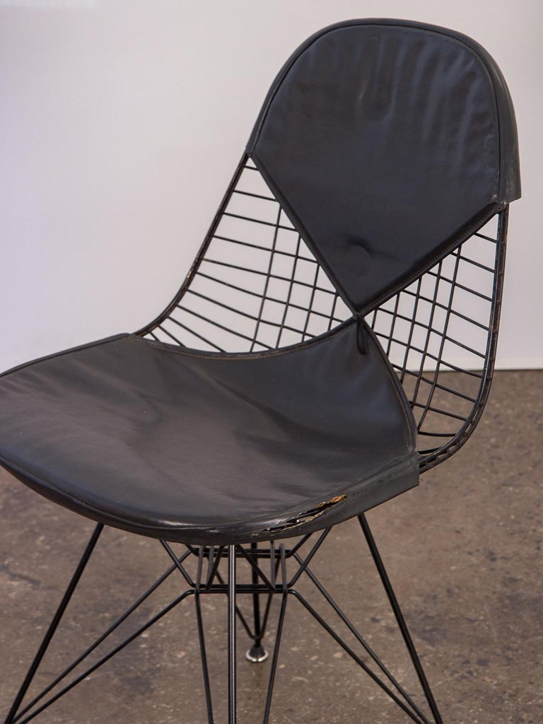 Mid-Century Modern Black Eames Wire Chair with Bikini Cover on Eiffel Base For Sale