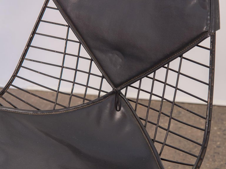 Black Eames Wire Chair with Bikini Cover on Eiffel Base In Good Condition For Sale In Brooklyn, NY