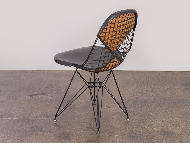 20th Century Black Eames Wire Chair with Bikini Cover on Eiffel Base For Sale