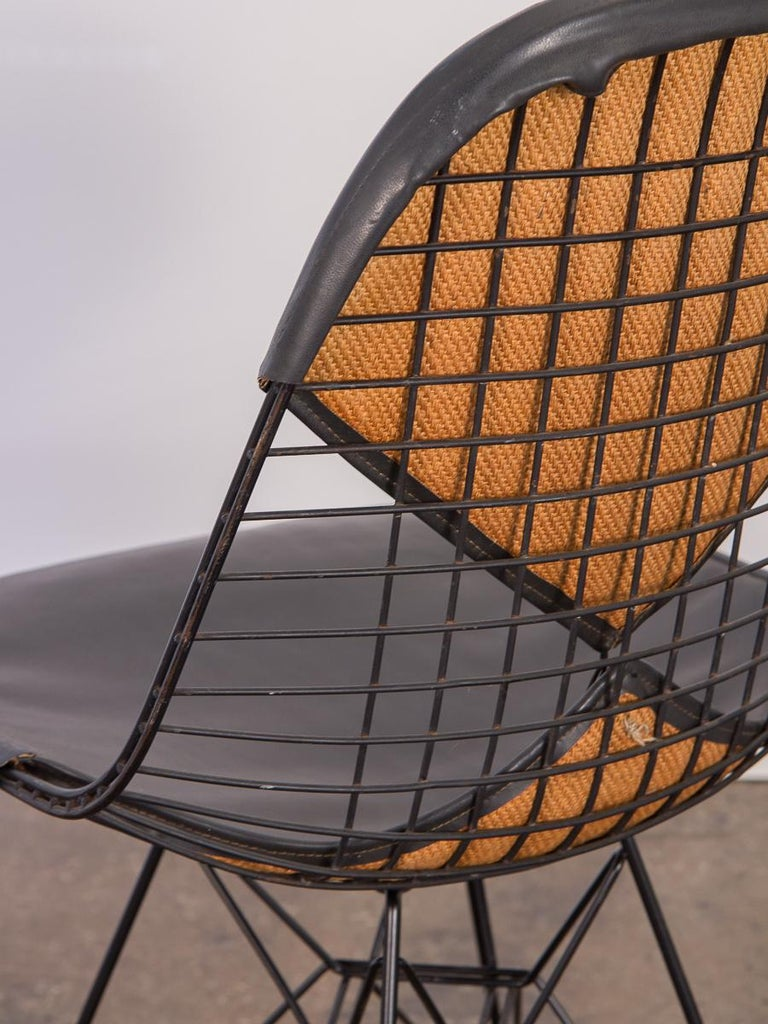 Metal Black Eames Wire Chair with Bikini Cover on Eiffel Base For Sale