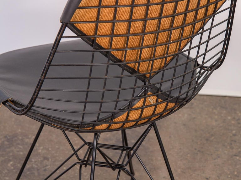 Black Eames Wire Chair with Bikini Cover on Eiffel Base For Sale 1