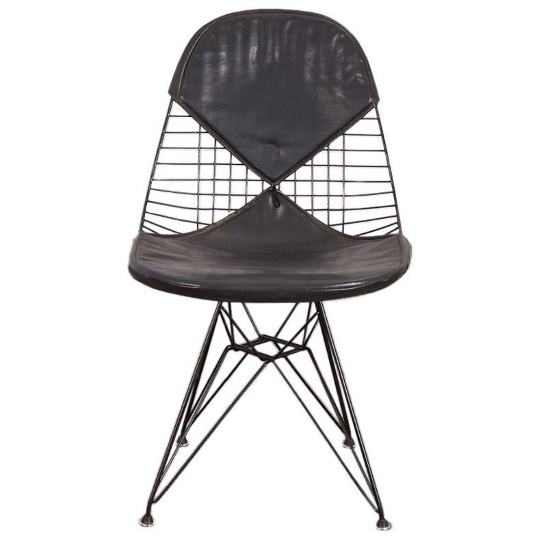 Black Eames Wire Chair with Bikini Cover on Eiffel Base