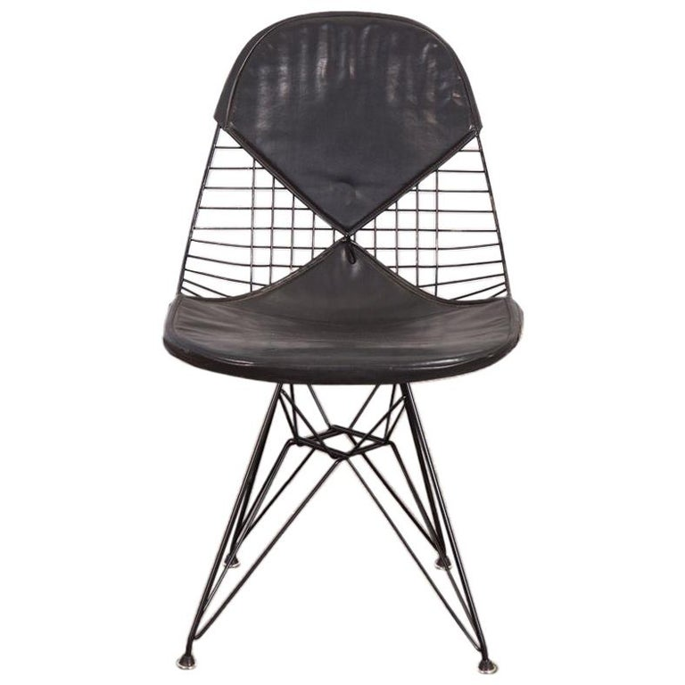 Black Eames Wire Chair with Bikini Cover on Eiffel Base For Sale