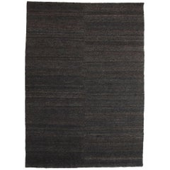 Black Earth Rug in Hand Knotted Jute by Nani Marquina & Ariadna Miquel, Medium