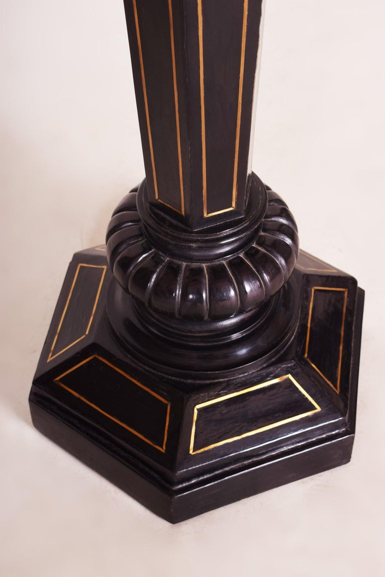 Black Ebonized Empire Pedestal, Original Preserved Condition, Brass Marquetry In Good Condition For Sale In Prague 1, CZ