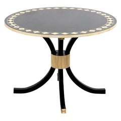 Black Ebony Round Table with Faux Bone and Ivory Detail