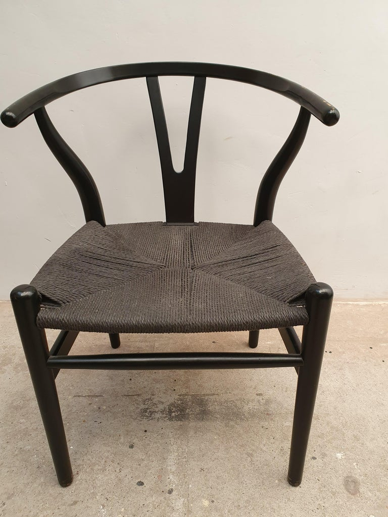 Black Edition Wishbone Chair CH24, 1980s 2