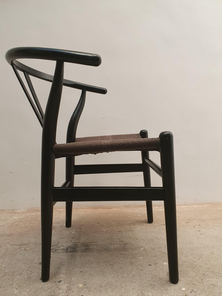 Scandinavian Modern Black Edition Wishbone Chair CH24, 1980s