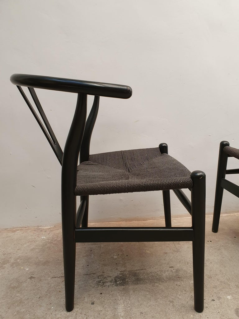 Danish Black Edition Wishbone Chair CH24, 1980s